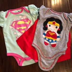 Super girl & Wonder Woman onesie